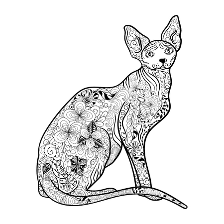 painted image: Illustration Cat Sphynx was created in doodling style in black and white colors.  Painted image is isolated on white background.  It  can be used for coloring books for adult. Illustration