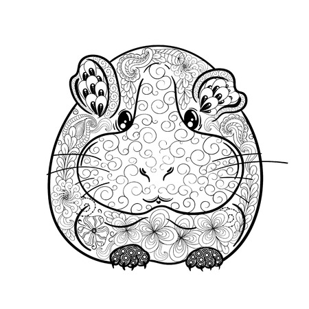domestic animals: Illustration Cavy was created in doodling style in black and white colors.  Painted image is isolated on white background. Illustration