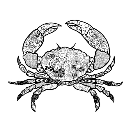 painted image: Illustration Crab was created in doodling style in black and white colors.  Painted image is isolated on white background. It  can be used for coloring books for adult. Illustration