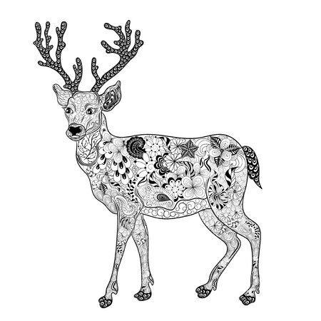 painted image: Illustration Deer was created in doodling style in black and white colors. Painted image is isolated on white background.