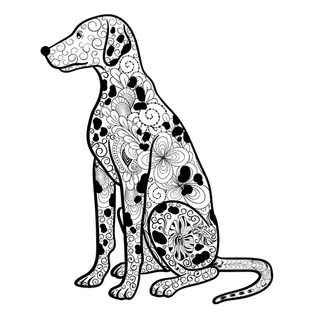 painted image: Illustration Dalmatian dog was created in doodling style in black and white colors.  Painted image is isolated on white background.  It  can be used for coloring books for adult.