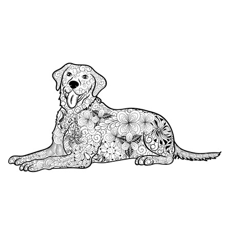 painted image: Illustration Dog was created in doodling style in black and white colors.  Painted image is isolated on white background.  It  can be used for coloring books for adult.