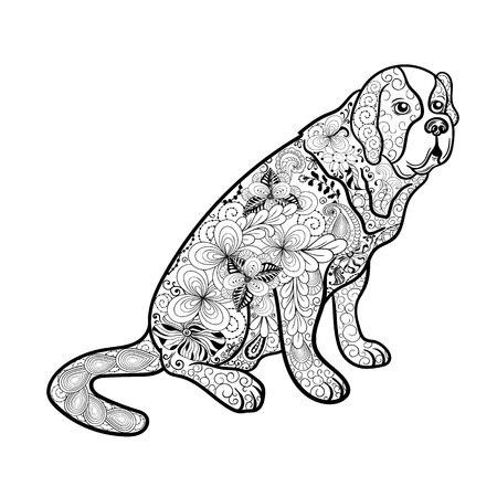 st bernard dog: Illustration St. Bernard dog was created in doodling style in black and white colors.  Painted image is isolated on white background.  It  can be used for coloring books for adult.