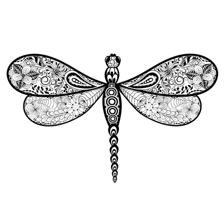painted image: Illustration Dragonfly was created in doodling style in black and white colors.  Painted image is isolated on white background.
