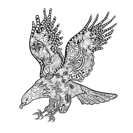 painted image: Hand drawn illustration Eagle was created in doodling style in black and white colors.  Painted image is isolated on white background.