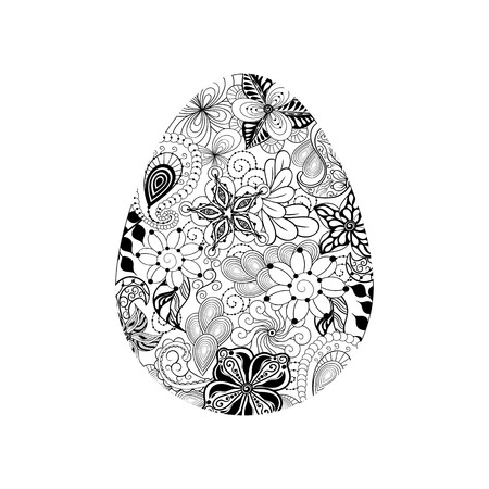 painted image: Illustration Easter egg was created in doodling style. Painted image is isolated on white background. It  can be used as postcard.