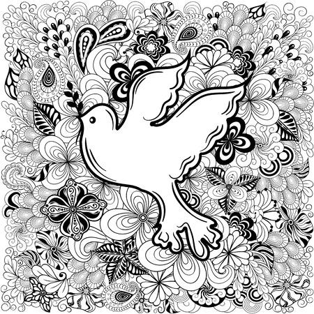 """Illustration """"Friedenstaube"""" wurde in doodling Stil in Schwarz-Weiß-Farben. Gemaltes Bild ist isoliert auf weißem Hintergrund. Standard-Bild - 57365039"""