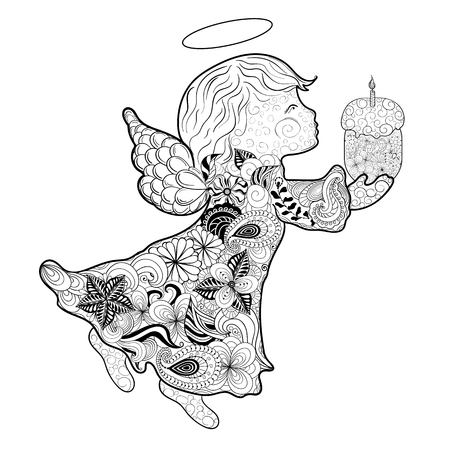 angelic: Illustration Easter angel was created in doodling style in black and white colors.  Painted image is isolated on white background. It  can be used as postcard.