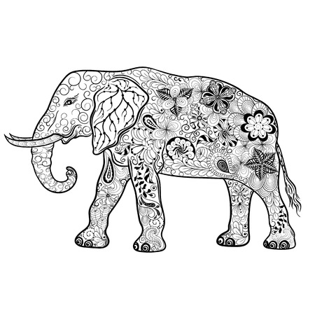 painted image: Illustration Elephant was created in doodling style in black and white colors.  Painted image is isolated on white background. Illustration
