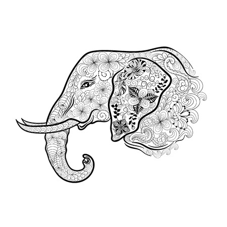 painted image: Illustration Elephant head was created in doodling style in black and white colors.  Painted image is isolated on white background. Illustration