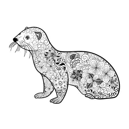 """Illustration """"Frettchen"""" wurde in kritzeln Stil in Schwarz-Weiß-Farben. Gemaltes Bild ist isoliert auf weißem Hintergrund. Standard-Bild - 57365066"""