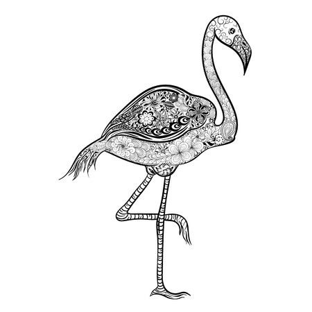 painted image: Illustration Flamingo was created in doodling style in black and white colors.  Painted image is isolated on white background. Illustration