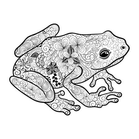 """Illustration """"Frosch"""" wurde in kritzeln Stil in Schwarz-Weiß-Farben. Gemaltes Bild ist isoliert auf weißem Hintergrund. Standard-Bild - 57365067"""