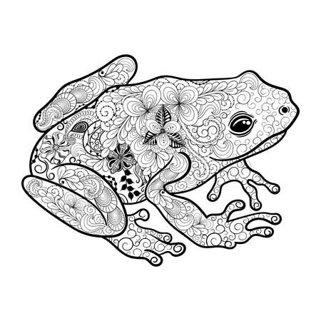 Illustration Frog was created in doodling style in black and white colors.  Painted image is isolated on white background. Illustration