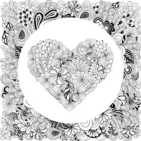 """Illustration """"Herz"""" wurde in kritzelnden Stil in schwarzen und weißen Farben erstellt. Es kann zum Ausmalen von Büchern für Erwachsene oder Valentinskarten verwendet werden. Standard-Bild - 57365070"""