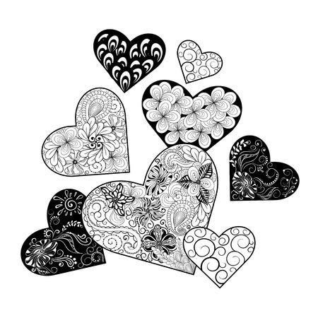 """Illustration """"Hearts"""" wurde in kritzeln Stil in Schwarz-Weiß-Farben. Gemaltes Bild ist isoliert auf weißem Hintergrund. Es kann als Valentinsgrußkarte verwendet werden. Standard-Bild - 57365072"""