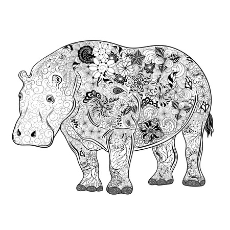 Illustration Hippo was created in doodling style in black and white colors.  Painted image is isolated on white background.