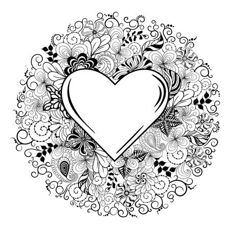 """Illustration """"Heart"""" wurde in doodling Stil in Schwarz-Weiß-Farben. Es kann für die Färbung Bücher für Erwachsene oder Valentines-Karte verwendet werden. Standard-Bild - 57365074"""