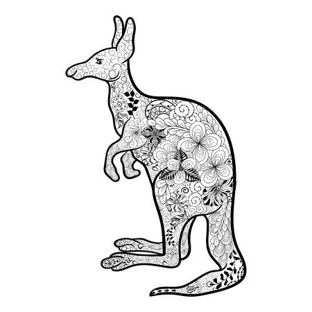 """Ilustración """"canguro"""" se ha creado en el estilo de hacer garabatos en colores blanco y negro. Imagen pintada está aislado en el fondo blanco."""