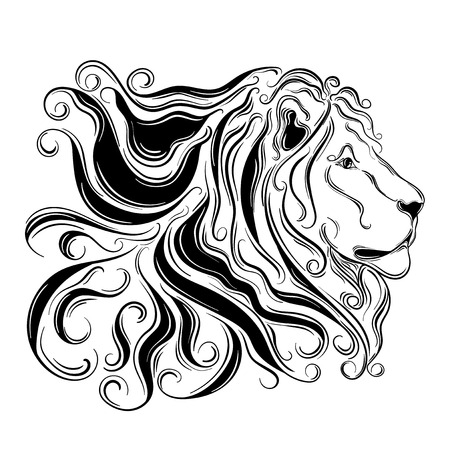 painted image: Hand drawn illustration Lion was created in doodling style in black and white colors.  Painted image is isolated on white background.