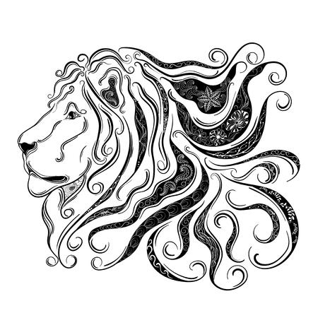 """Hand gezeichnete Illustration """"Lion"""" wurde im kritzeln Stil in Schwarz-Weiß-Farben. Gemaltes Bild ist isoliert auf weißem Hintergrund. Standard-Bild - 57365078"""