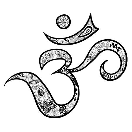painted image: Illustration Hieroglyph Om was created in doodling style in black and white colors.  Painted image is isolated on white background. Illustration