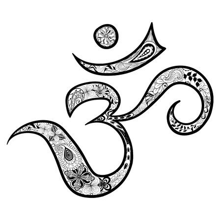 """Illustration """"Hieroglyphe Om"""" wurde in kritzeln Stil in Schwarz-Weiß-Farben. Gemaltes Bild ist isoliert auf weißem Hintergrund. Standard-Bild - 57365080"""