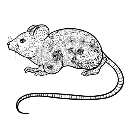 painted image: Illustration Mouse was created in doodling style in black and white colors.  Painted image is isolated on white background.