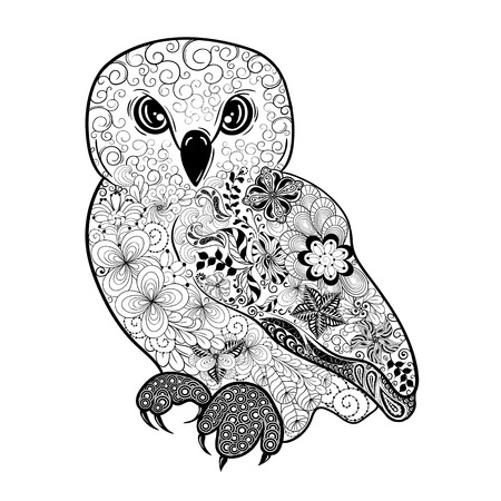 painted image: Illustration Owl was created in doodling style in black and white colors.  Painted image is isolated on white background. Illustration