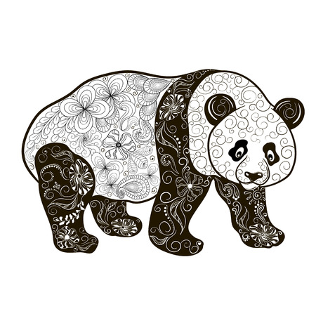 painted image: Illustration Panda was created in doodling style in black and white colors.  Painted image is isolated on white background.