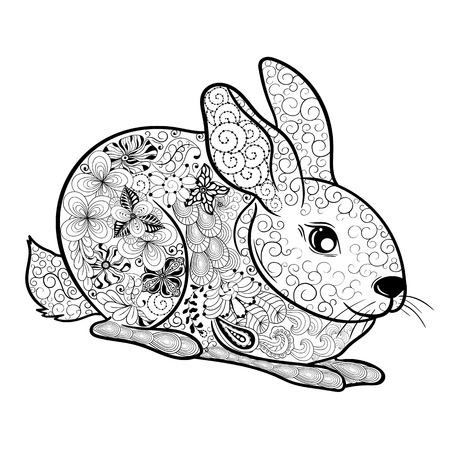 painted image: Illustration Rabbit was created in doodling style in black and white colors.  Painted image is isolated on white background. Illustration