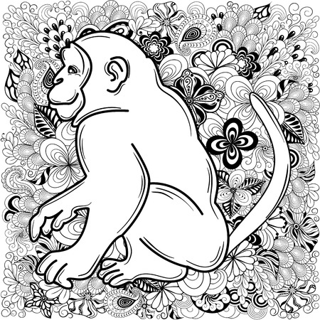 doodling: Hand drawn illustration Monkey was created in doodling style in black and white colors.  Painted image is isolated on white background.