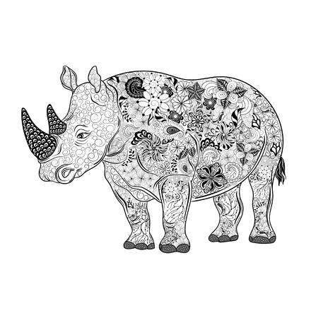 """Illustration """"Rhinoceros"""" wurde in kritzeln Stil in Schwarz-Weiß-Farben. Gemaltes Bild ist isoliert auf weißem Hintergrund. Standard-Bild - 58944611"""