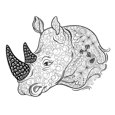 """Illustration """"Rhinoceros Kopf"""" wurde in kritzeln Stil in Schwarz-Weiß-Farben. Gemaltes Bild ist isoliert auf weißem Hintergrund. Standard-Bild - 58944610"""