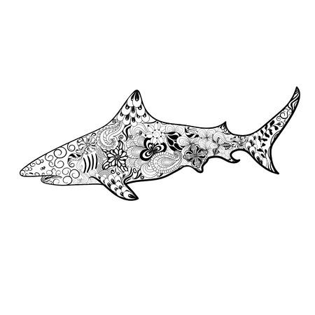 """Illustration """"Shark"""" wurde in kritzeln Stil in Schwarz-Weiß-Farben. Gemaltes Bild ist isoliert auf weißem Hintergrund. Standard-Bild - 58944616"""