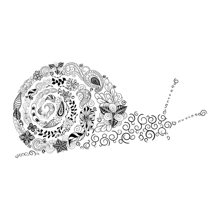 cochlea: Illustration Snail was created in doodling style in black and white colors.  Painted image is isolated on white background. Illustration