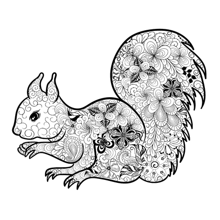 painted image: Illustration Squirrel was created in doodling style in black and white colors.  Painted image is isolated on white background. It  can be used for coloring books for adult.
