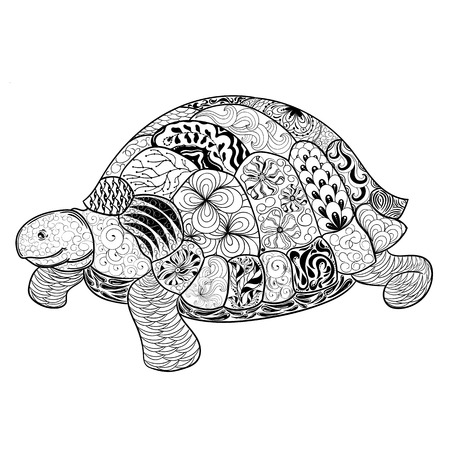 painted image: Illustration Turtle was created in doodling style in black and white colors. Painted image is isolated on white background. Illustration