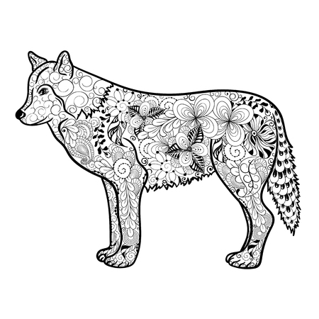 painted image: Illustration Wolf was created in doodling style in black and white colors.  Painted image is isolated on white background. It  can be used for coloring books for adult. Illustration