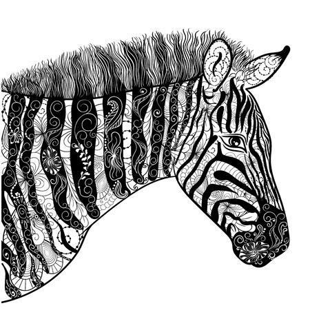 """Illustration """"Zebra"""" wurde in kritzeln Stil in Schwarz-Weiß-Farben. Gemaltes Bild ist isoliert auf weißem Hintergrund. Es kann für die Färbung Bücher für Erwachsene verwendet werden. Standard-Bild - 58945379"""