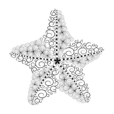 painted image: Illustration Starfish  was created in doodling style in black and white colors.  Painted image with high details is isolated on white background.  It  can be used for coloring books for adult, shirt design. Animal collection.
