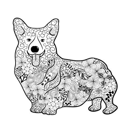 """Illustration """"Welsh Corgi-Hund"""" wurde in kritzeln Stil in Schwarz-Weiß-Farben. Gemaltes Bild ist isoliert auf weißem Hintergrund. Es kann für die Färbung Bücher für Erwachsene verwendet werden. Standard-Bild - 60001346"""