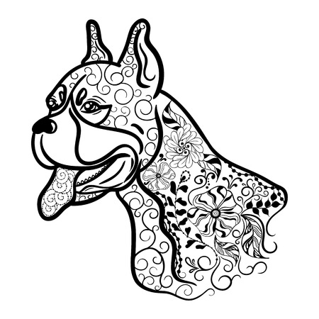 painted image: Illustration Boxer dog head was created in doodling style in black and white colors.  Painted image is isolated on white background.  It  can be used for coloring books for adult.