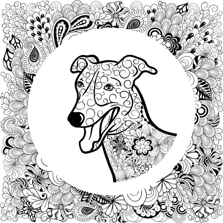 was: Illustration Greyhound Dog head was created in doodling style in black and white colors.    It  can be used for coloring books for adult.