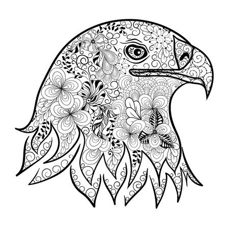 """Illustration """"Adlerkopf"""" wurde in kritzeln Stil in Schwarz-Weiß-Farben. Gemaltes Bild ist isoliert auf weißem Hintergrund. Es kann für die Färbung Bücher für Erwachsene verwendet werden. Standard-Bild - 64600085"""