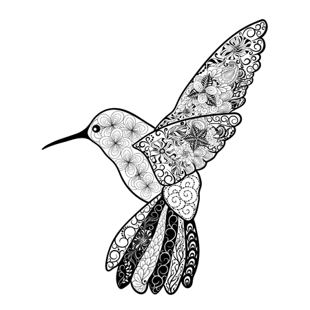painted image: Illustration Colibri was created in doodling style in black and white colors.  Painted image is isolated on white background.  It  can be used for coloring books for adult, shirt design.