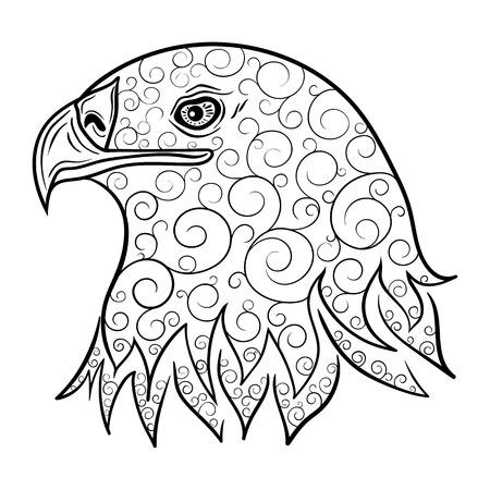 """Illustration """"Adlerkopf"""" wurde in kritzeln Stil in Schwarz-Weiß-Farben. Gemaltes Bild ist isoliert auf weißem Hintergrund. Es kann für die Färbung Bücher für Erwachsene verwendet werden. Standard-Bild - 64633960"""