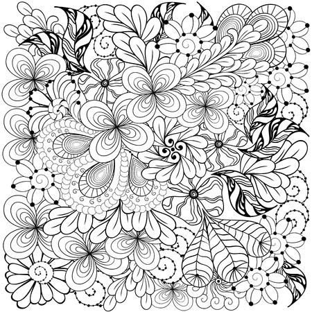 """Illustration """"Muster"""" wurde in doodling Stil in Schwarz-Weiß-Farben. Es kann für die Färbung Bücher für Erwachsene verwendet werden. Standard-Bild - 65685773"""