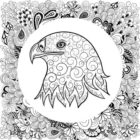 """Illustration """"Adlerkopf"""" wurde in kritzeln Stil in Schwarz-Weiß-Farben. Es kann für die Färbung Bücher für Erwachsene verwendet werden. Standard-Bild - 66064422"""