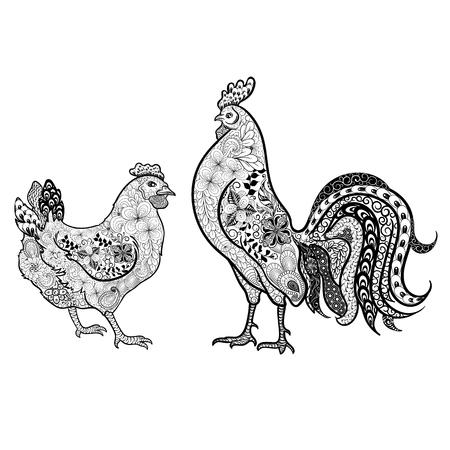 """Illustration """"Hahn und Huhn"""" wurde im kritzelnden Stil in den schwarzen und weißen Farben geschaffen. Gemaltes Bild wird auf weißem Hintergrund lokalisiert. Es kann für Malbücher für Erwachsene und andere Dekorationen verwendet werden. Standard-Bild - 68631882"""